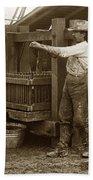 Old  Wooden Wine Press Circa 1910 Beach Towel