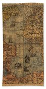 Old World Map Beach Towel by Dan Sproul