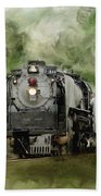 Old World Steam Engine Beach Towel