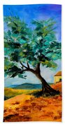 Olive Tree On The Hill Beach Towel by Elise Palmigiani