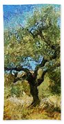 Olive Tree On Van Gogh Manner Beach Towel