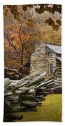 Oliver's Log Cabin During Fall In The Great Smoky Mountains Beach Towel
