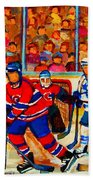Olympic  Hockey Hopefuls  Painting By Montreal Hockey Artist Carole Spandau Beach Sheet
