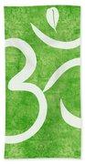 Om Green Beach Towel by Linda Woods