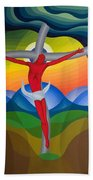 On The Cross Beach Towel by Emil Parrag