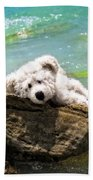 On The Rocks - Teddy Bear Art By William Patrick And Sharon Cummings Beach Towel