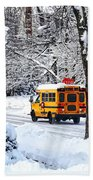 On The Way To School In Winter Beach Towel