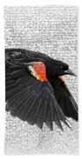On The Wing - Red-winged Blackbird Beach Towel