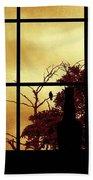 One Crow Outside My Window Beach Towel