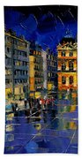 One Evening In Terreaux Square Lyon Beach Towel