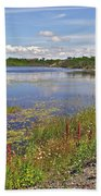 One Of Many Lakes In Newfoundland Beach Towel