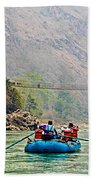 One Of Many Suspension Bridges Crossing The Seti River In Nepal Beach Towel