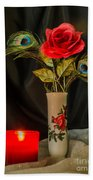 One Red Christmas Rose Beach Towel
