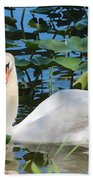 One Swan In The Lilies Beach Towel