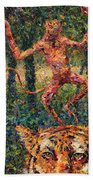Only A Crazy Monkey Dances On A Tiger's Head Beach Towel by James W Johnson