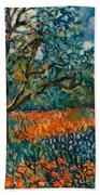 Orange And Blue Flower Field Beach Towel