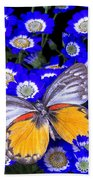 Orange And Gray Butterfly Beach Towel