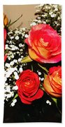 Orange Apricot Roses With Oil Painting Effect Beach Towel