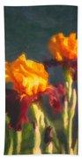 Orange Bearded Irises Beach Towel