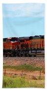 Orange Bnsf Engines Beach Towel