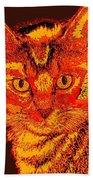 Orange Cat Beach Towel