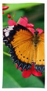 Orange Common Lacewing Butterfly Beach Towel