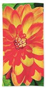 Orange Dahlia Beach Towel