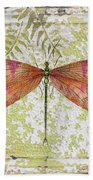 Orange Dragonfly On Vintage Tin Beach Towel