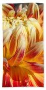 Orange Floral Art Dinner Plate Dahlia Flower Beach Towel