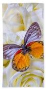 Orange Gray Butterfly Beach Towel