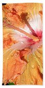 Orange Hibiscus After The Rain Beach Towel