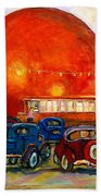 Orange Julep With Antique Cars Beach Towel by Carole Spandau