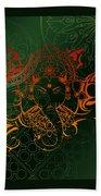 orange Lord Ganesha on green Mandala Beach Towel