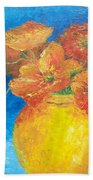 Orange Poppies In Yellow Vase Beach Towel