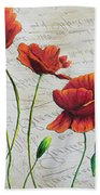 Orange Poppies Original Abstract Flower Painting By Megan Duncanson Beach Towel