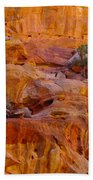 Orange Rock Formation Beach Towel