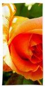 Orange Rose Bloom Beach Towel