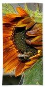 Orange Sunflower And Bee Beach Towel