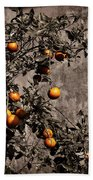 Orange Tree On Rustic Background Beach Towel
