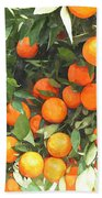 Orange Trees With Fruits On Plantation Beach Towel