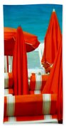 Orange Umbrellas Beach Towel