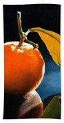 Orange With Leaf Beach Towel
