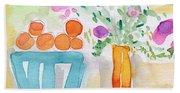 Oranges In Blue Bowl- Watercolor Painting Beach Towel