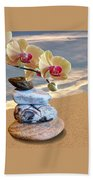 Orchids And Pebbles On Sand Beach Towel