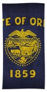Oregon State Flag Art On Worn Canvas Beach Towel