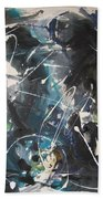 original abstract blue and black painting for sale-Blue Valley Beach Towel