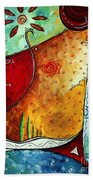 Original Abstract Pop Art Style Colorful Landscape Painting Home To Tuscany By Megan Duncanson Beach Towel