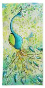 Original Acrylic Bird Floral Painting Peacock Glory By Megan Duncanson Beach Towel