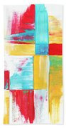 Original Bold Colorful Abstract Painting Patchwork By Madart Beach Towel by Megan Duncanson