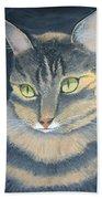 Original Cat Painting Beach Towel